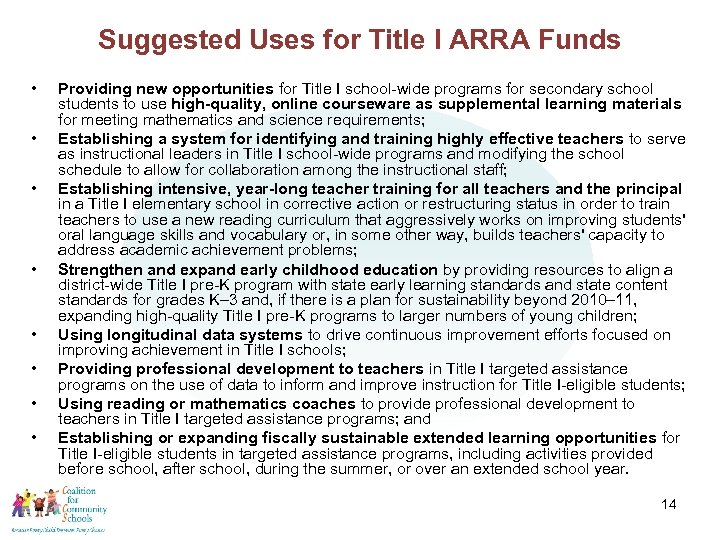 Suggested Uses for Title I ARRA Funds • • Providing new opportunities for Title