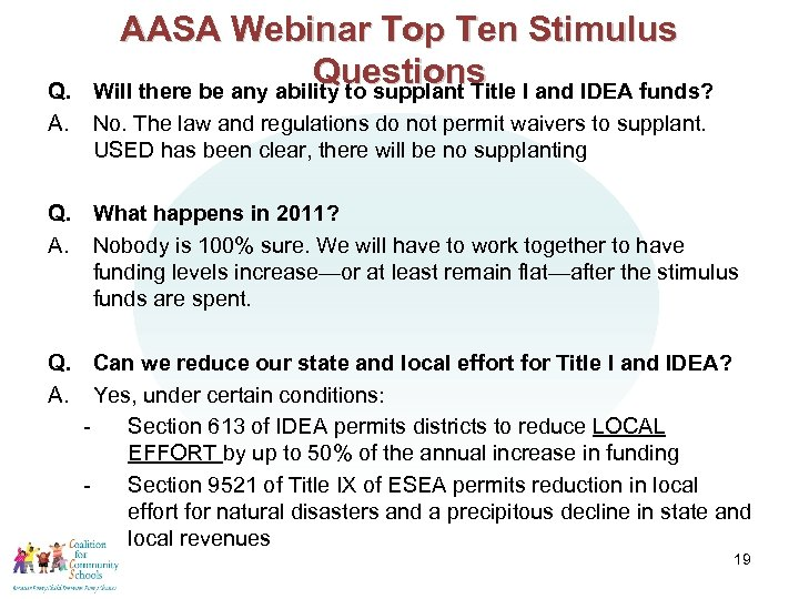 AASA Webinar Top Ten Stimulus Questions I and IDEA funds? Will there be any