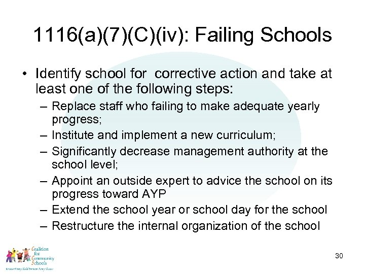 1116(a)(7)(C)(iv): Failing Schools • Identify school for corrective action and take at least one