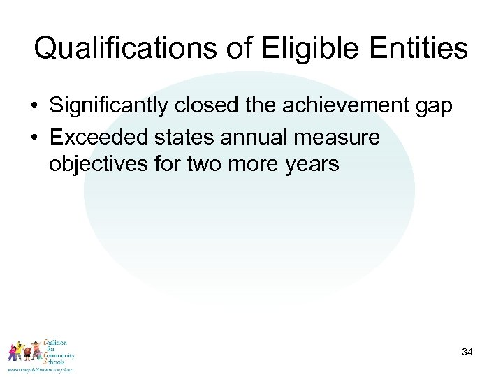 Qualifications of Eligible Entities • Significantly closed the achievement gap • Exceeded states annual