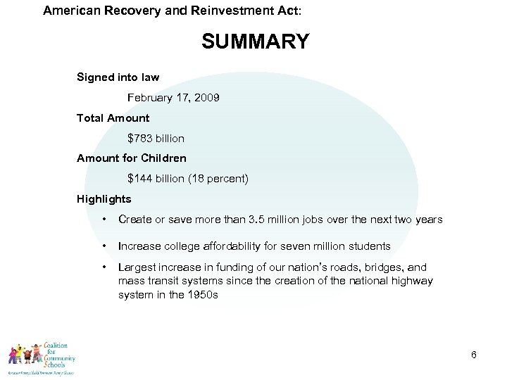 American Recovery and Reinvestment Act: SUMMARY Signed into law February 17, 2009 Total Amount