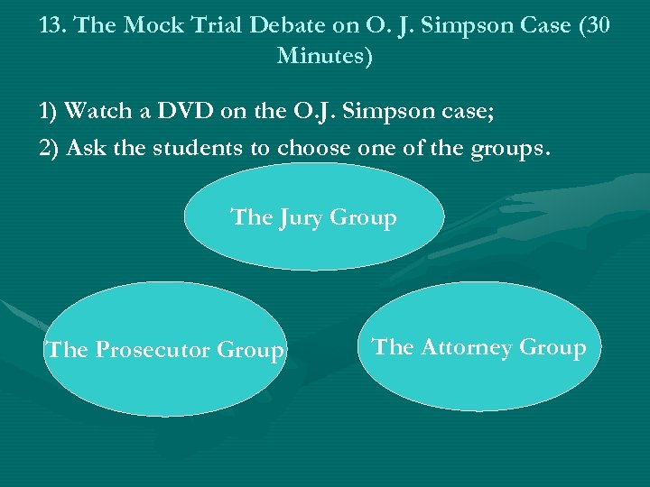 13. The Mock Trial Debate on O. J. Simpson Case (30 Minutes) 1) Watch