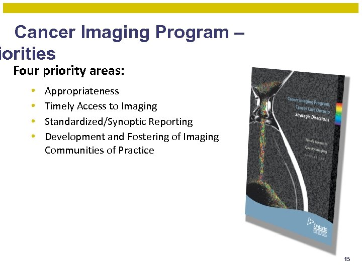 Cancer Imaging Program – iorities Four priority areas: • • Appropriateness Timely Access to