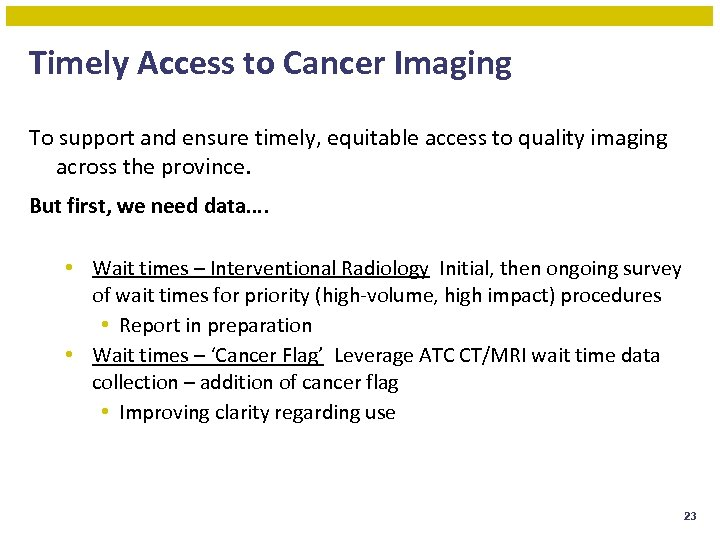 Timely Access to Cancer Imaging To support and ensure timely, equitable access to quality