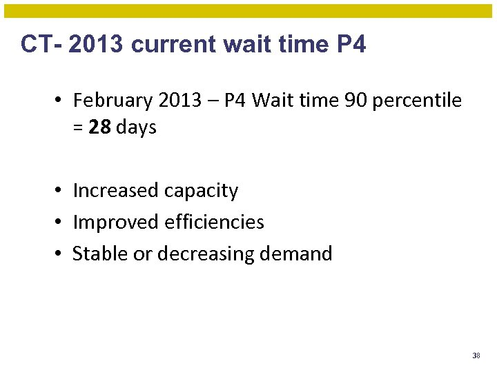 CT- 2013 current wait time P 4 • February 2013 – P 4 Wait