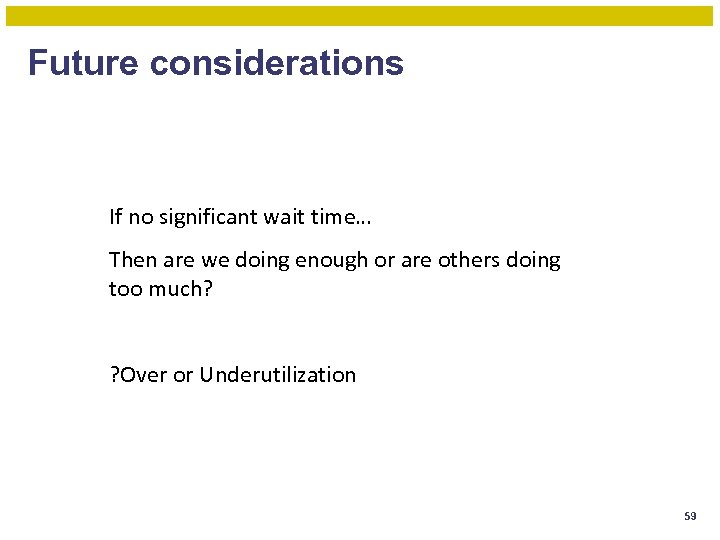 Future considerations If no significant wait time… Then are we doing enough or are