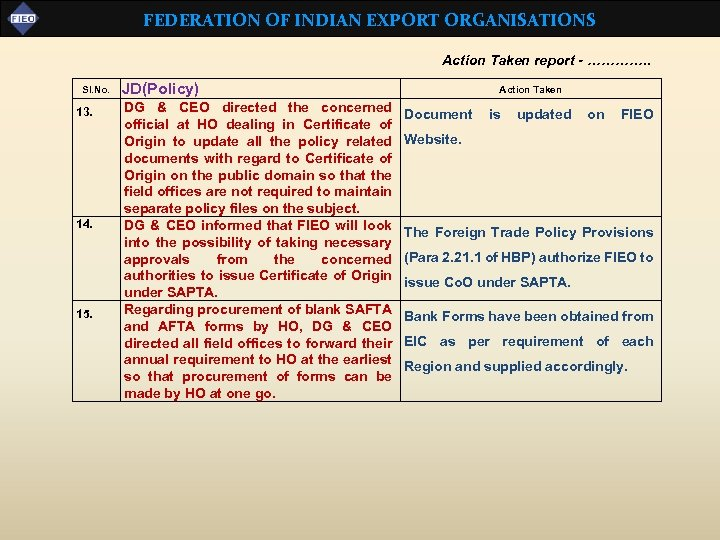 FEDERATION OF INDIAN EXPORT ORGANISATIONS Action Taken report - …………. . Sl. No. 13.