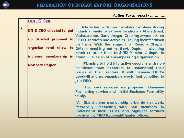 FEDERATION OF INDIAN EXPORT ORGANISATIONS Action Taken report - …………. . DD(DG Cell) 19.