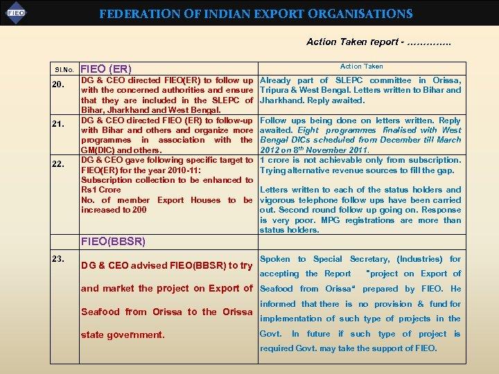 FEDERATION OF INDIAN EXPORT ORGANISATIONS Action Taken report - …………. . Sl. No. 20.