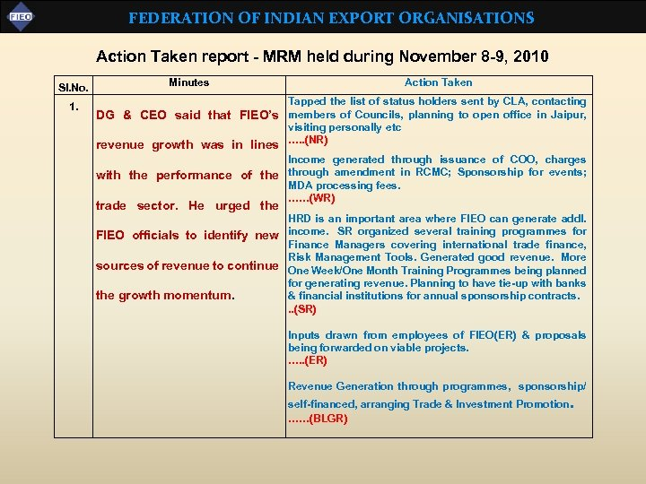 FEDERATION OF INDIAN EXPORT ORGANISATIONS Action Taken report - MRM held during November 8
