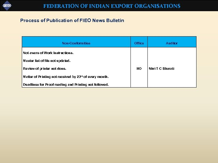 FEDERATION OF INDIAN EXPORT ORGANISATIONS Process of Publication of FIEO News Bulletin Non-Conformities Office