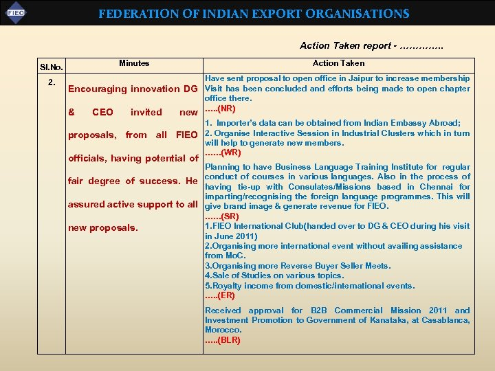 FEDERATION OF INDIAN EXPORT ORGANISATIONS Action Taken report - …………. . Sl. No. 2.