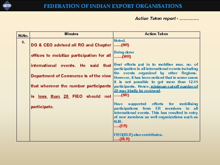 FEDERATION OF INDIAN EXPORT ORGANISATIONS Action Taken report - …………. . Minutes Sl. No.