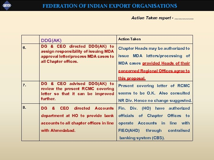 FEDERATION OF INDIAN EXPORT ORGANISATIONS Action Taken report - …………. . DDG(AK) 6. Action