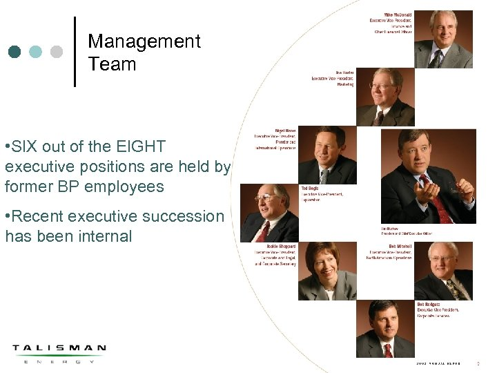 Management Team • SIX out of the EIGHT executive positions are held by former