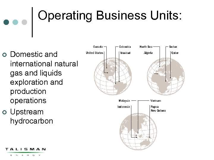 Operating Business Units: ¢ ¢ Domestic and international natural gas and liquids exploration and