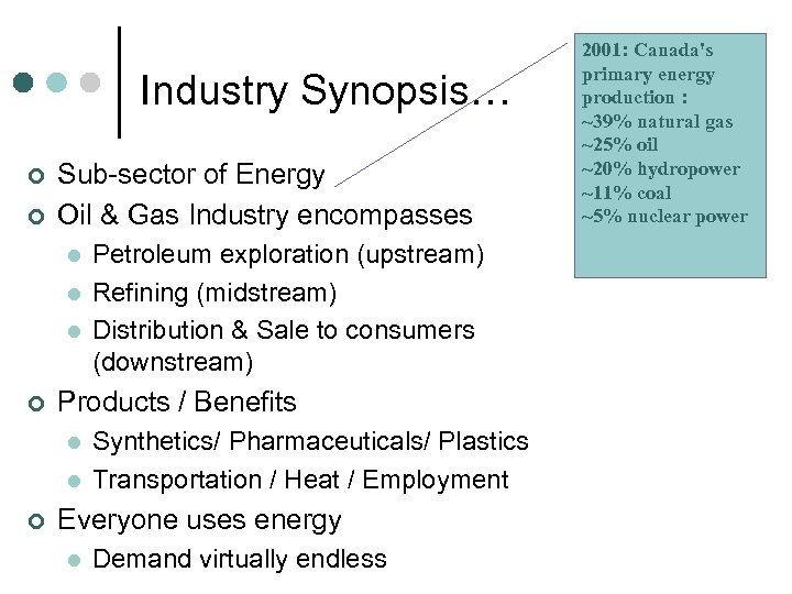 Industry Synopsis… ¢ ¢ Sub-sector of Energy Oil & Gas Industry encompasses l l