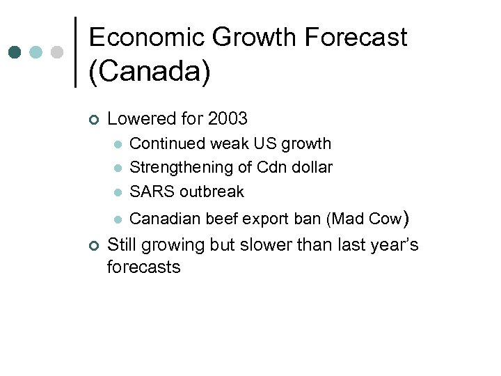 Economic Growth Forecast (Canada) ¢ Lowered for 2003 l Continued weak US growth Strengthening