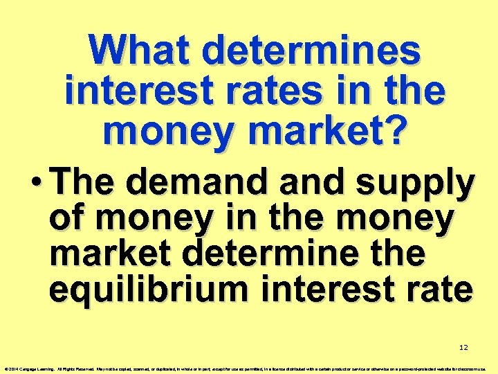 What determines interest rates in the money market? • The demand supply of money