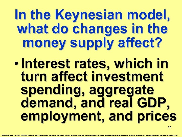 In the Keynesian model, what do changes in the money supply affect? • Interest