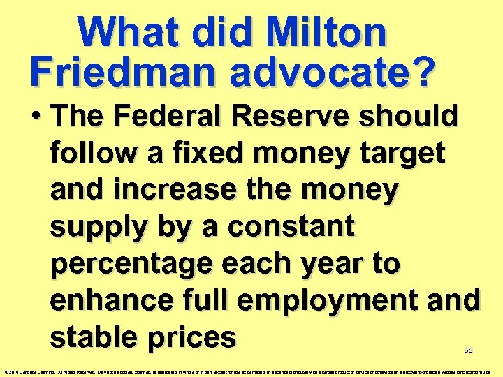 What did Milton Friedman advocate? • The Federal Reserve should follow a fixed money