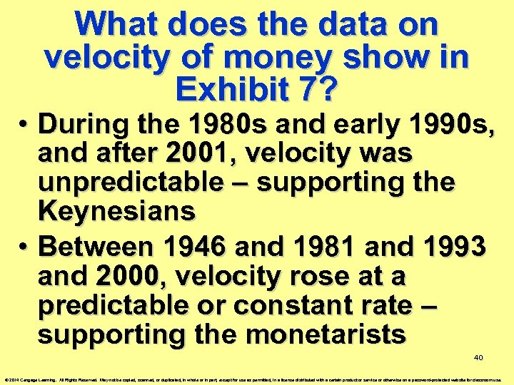 What does the data on velocity of money show in Exhibit 7? • During