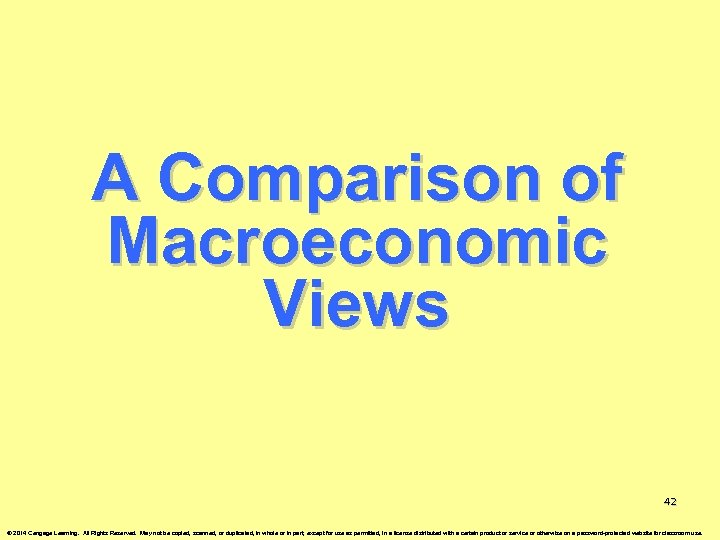 A Comparison of Macroeconomic Views 42 © 2014 Cengage Learning. All Rights Reserved. May