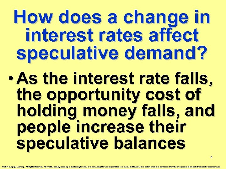 How does a change in interest rates affect speculative demand? • As the interest