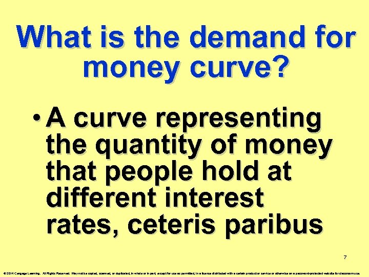 What is the demand for money curve? • A curve representing the quantity of