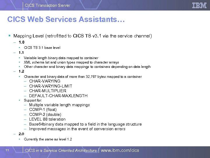 CICS Transaction Server CICS Web Services Assistants… § Mapping Level (retrofitted to CICS TS