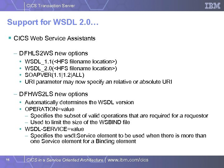 CICS Transaction Server Support for WSDL 2. 0… § CICS Web Service Assistants –