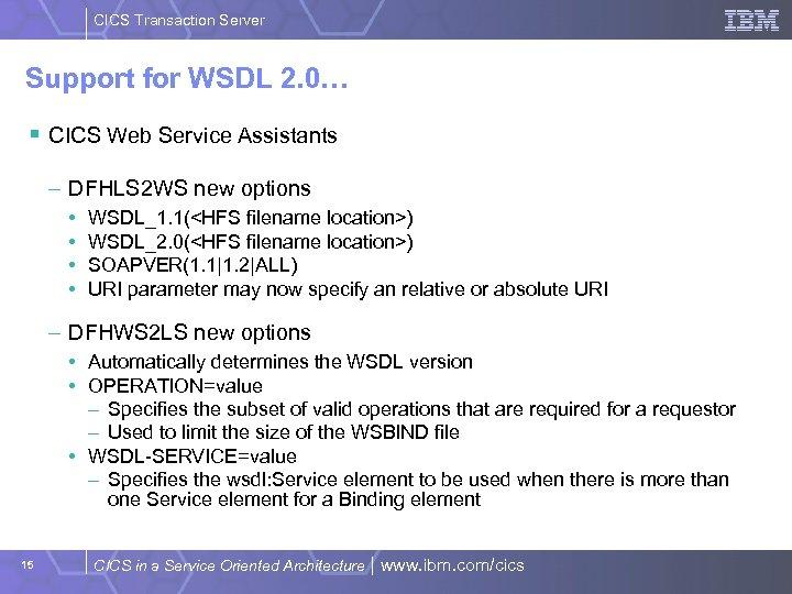 CICS Transaction Server Support for WSDL 2. 0… § CICS Web Service Assistants –