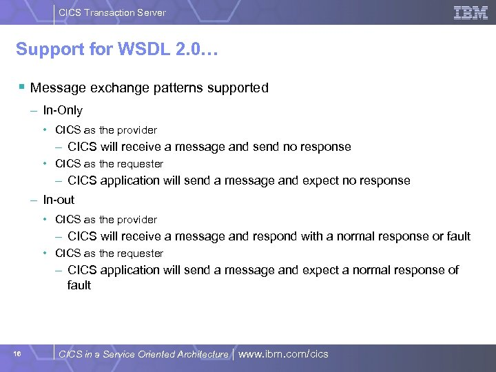 CICS Transaction Server Support for WSDL 2. 0… § Message exchange patterns supported –