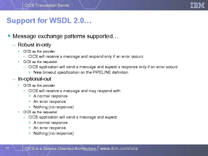 CICS Transaction Server Support for WSDL 2. 0… § Message exchange patterns supported… –