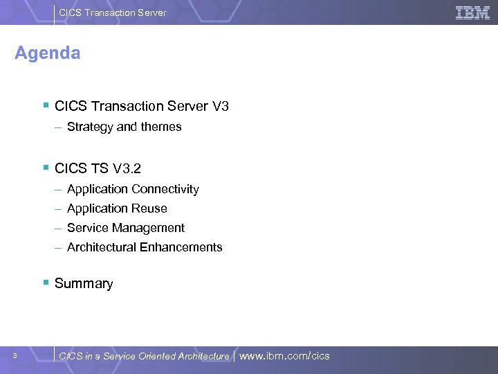CICS Transaction Server Agenda § CICS Transaction Server V 3 – Strategy and themes