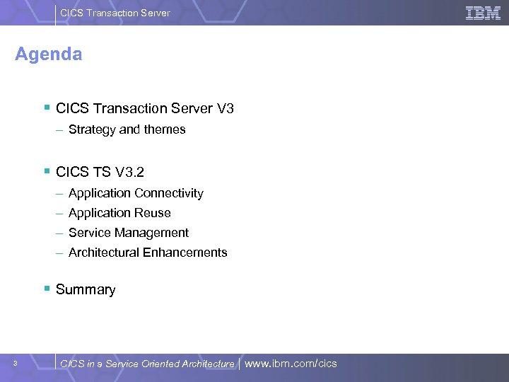 CICS Transaction Server Agenda § CICS Transaction Server V 3 – Strategy and themes