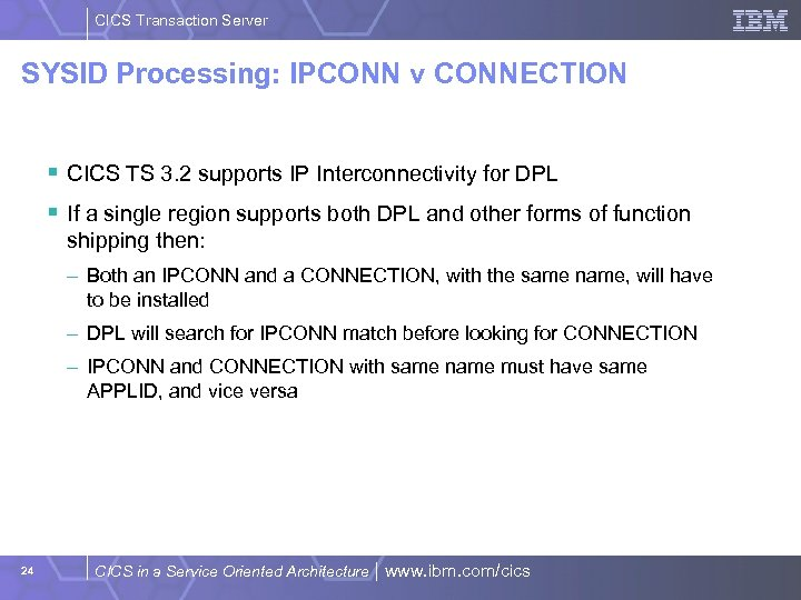 CICS Transaction Server SYSID Processing: IPCONN v CONNECTION § CICS TS 3. 2 supports