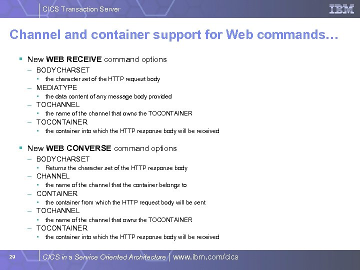 CICS Transaction Server Channel and container support for Web commands… § New WEB RECEIVE