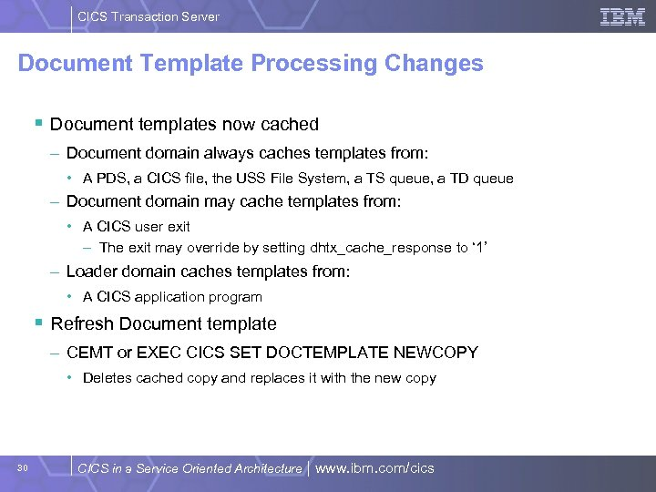 CICS Transaction Server Document Template Processing Changes § Document templates now cached – Document