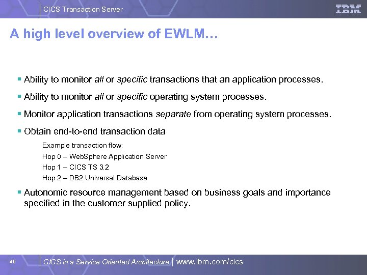 CICS Transaction Server A high level overview of EWLM… § Ability to monitor all