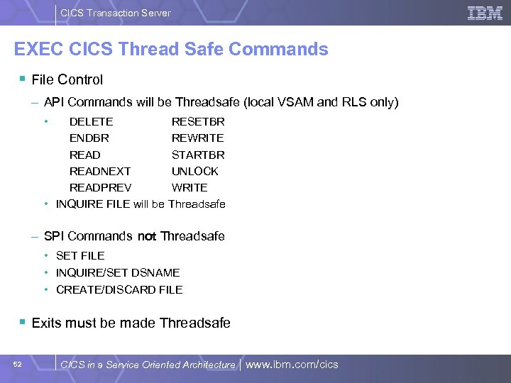 CICS Transaction Server EXEC CICS Thread Safe Commands § File Control – API Commands