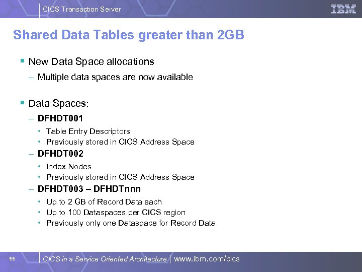 CICS Transaction Server Shared Data Tables greater than 2 GB § New Data Space