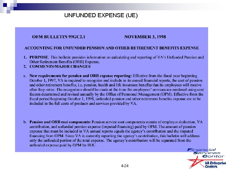 UNFUNDED EXPENSE (UE) 4 -24
