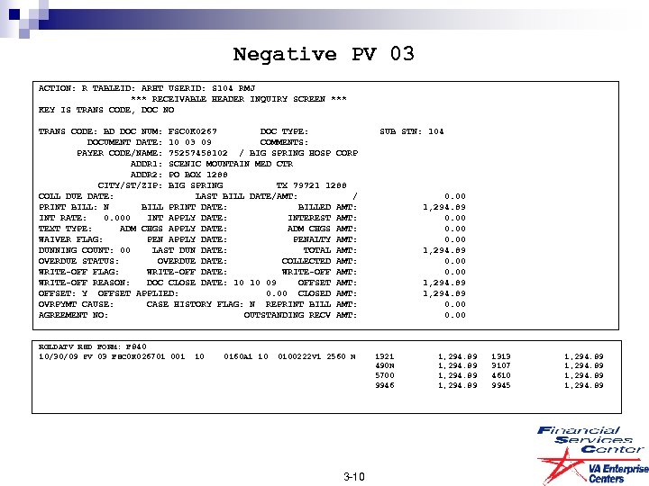 Negative PV 03 ACTION: R TABLEID: ARHT USERID: S 104 RMJ *** RECEIVABLE HEADER