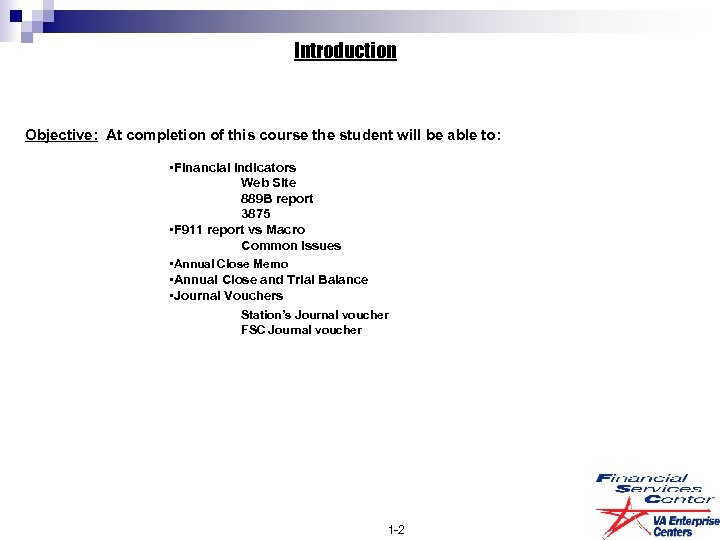 Introduction Objective: At completion of this course the student will be able to: •