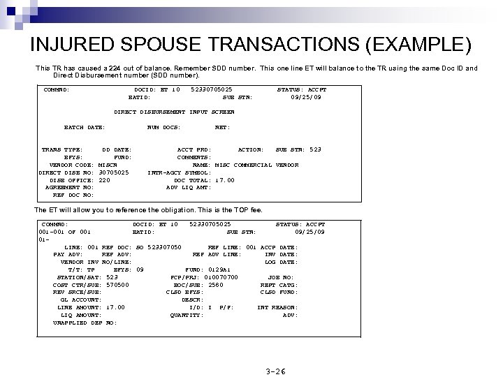 INJURED SPOUSE TRANSACTIONS (EXAMPLE) This TR has caused a 224 out of balance. Remember