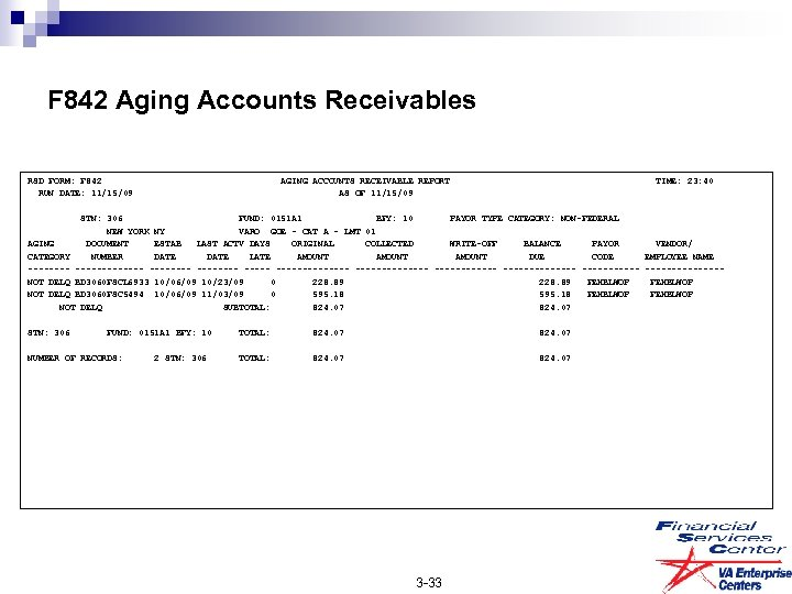 F 842 Aging Accounts Receivables RSD FORM: F 842 AGING ACCOUNTS RECEIVABLE REPORT TIME: