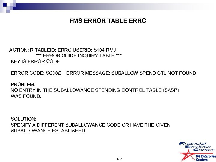 FMS ERROR TABLE ERRG ACTION: R TABLEID: ERRG USERID: S 104 RMJ *** ERROR