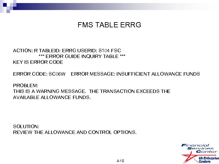 FMS TABLE ERRG ACTION: R TABLEID: ERRG USERID: S 104 FSC *** ERROR GUIDE