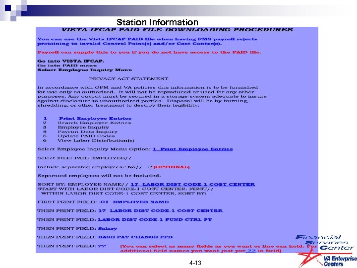 Station Information 4 -13